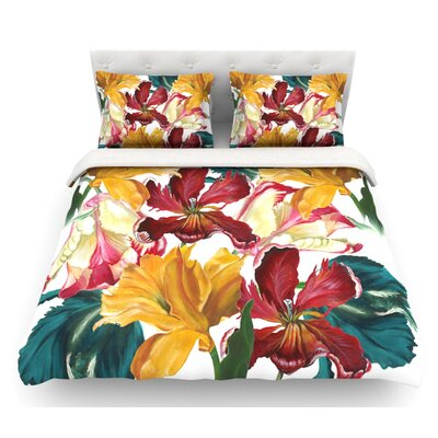 Flower Power by Lydia Martin Floral Featherweight Duvet Cover Size: Queen, Fabric: Lightweight Polyester