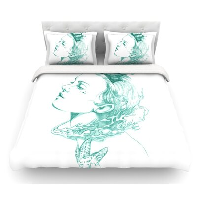 Queen of the Sea by Lydia Martin Featherweight Duvet Cover Color: Green, Size: Queen