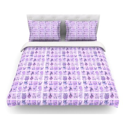 Cute Birds by Marianna Tankelevich Featherweight Duvet Cover Color: Purple/Pink/Lavender, Size: Queen