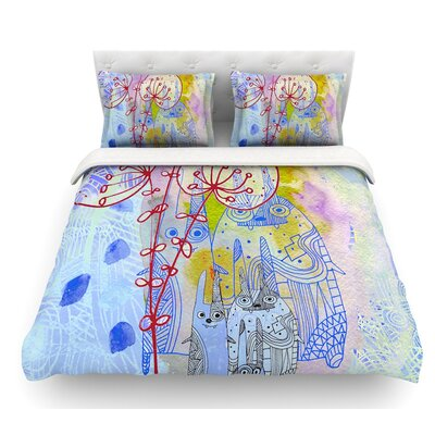 Composition with Bunnies by Marianna Tankelevich Abstract Rabbits Featherweight Duvet Cover Size: Queen