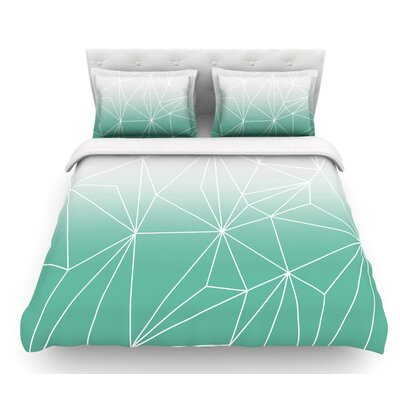 Simplicity by Mareike Boehmer Featherweight Duvet Cover Color: Teal/White, Size: King