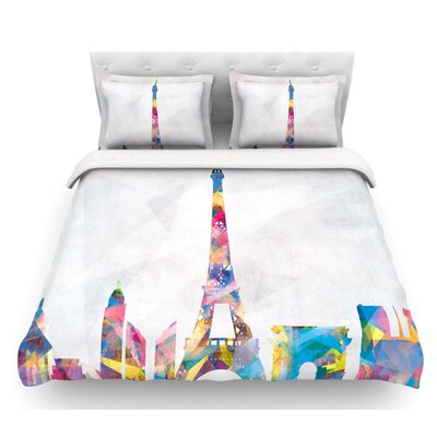 Paris by Mareike Boehmer City Featherweight Duvet Cover Size: Twin, Fabric: Lightweight Polyester