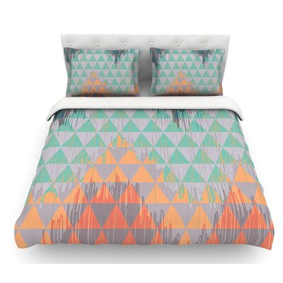Ikat Geometrie by Nika Martinez Featherweight Duvet Cover Color: Green/Orange, Size: King, Fabric: Lightweight Polyester