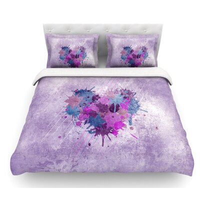 Painted Heart by Nick Atkinson Featherweight Duvet Cover Size: King, Fabric: Lightweight Polyester