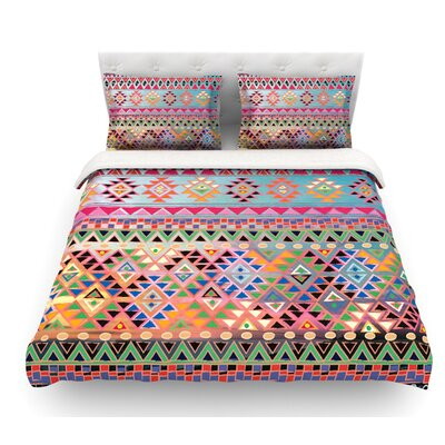 Tribal Native by Nika Martinez Featherweight Duvet Cover Color: Red, Size: Full/Queen, Fabric: Woven Polyester