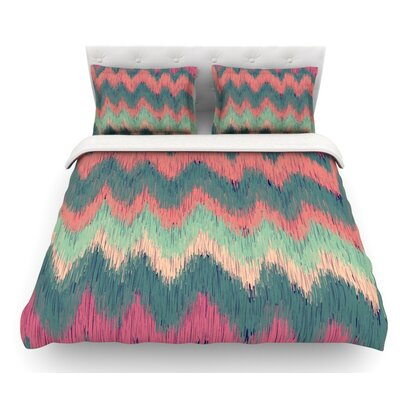 Ikat Chevron by Nika Martinez Featherweight Duvet Cover Size: Queen, Color: Multi, Fabric: Lightweight Polyester