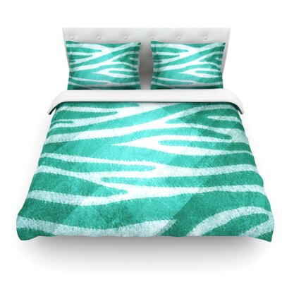 Zebra Print Texture by Nick Atkinson Featherweight Duvet Cover Size: Queen, Fabric: Cotton, Color: Teal/Blue