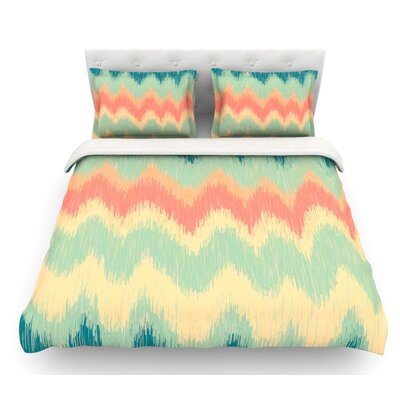 Ikat Chevron by Nika Martinez Featherweight Duvet Cover Size: Queen, Color: Teal, Fabric: Lightweight Polyester