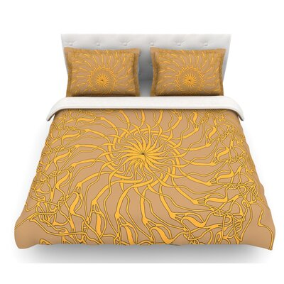 Mandala Spin by Patternmuse Featherweight Duvet Cover Size: Queen