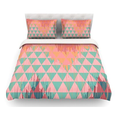 Ikat Geometrie by Nika Martinez Featherweight Duvet Cover Color: Green/Pink, Size: Twin, Fabric: Lightweight Polyester