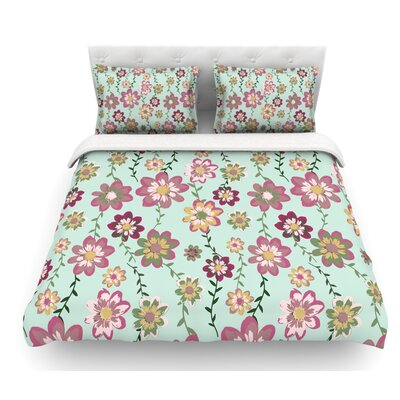 Romantic by Nika Martinez Featherweight Duvet Cover Size: King, Color: Mint/Pink/Teal