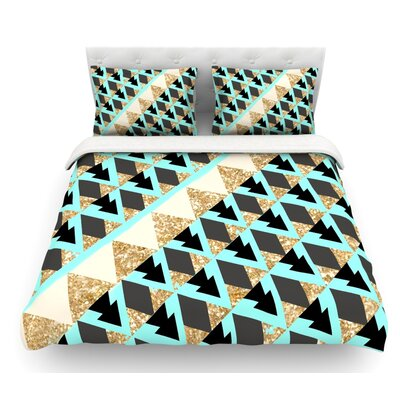 Glitter Triangles by Nika Martinez Featherweight Duvet Cover Size: King, Fabric: Lightweight Polyester