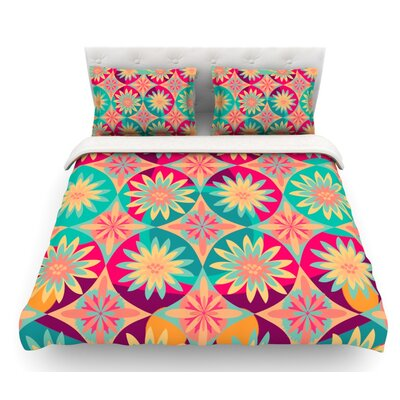 Happy Flowers by Nika Martinez Floral Abstract Featherweight Duvet Cover Size: Queen, Fabric: Lightweight Polyester
