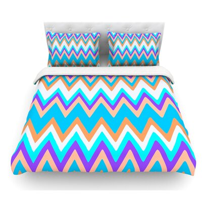 Girly Surf Chevron by Nika Martinez Featherweight Duvet Cover Size: Queen, Fabric: Lightweight Polyester