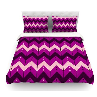 Chevron Dance by Nick Atkinson Featherweight Duvet Cover Color: Purple, Size: Twin