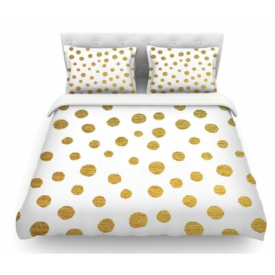 Dots by Nika Martinez Featherweight Duvet Cover Size: Queen, Color: White/Yellow, Fabric: Lightweight Polyester