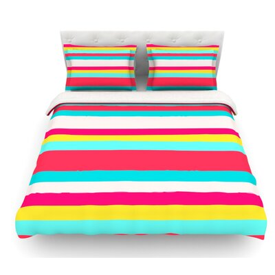 Girly Surf Stripes by Nika Martinez Featherweight Duvet Cover Size: Queen