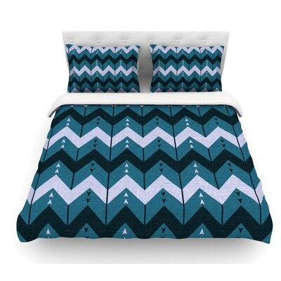 Chevron Dance by Nick Atkinson Featherweight Duvet Cover Color: Blue, Size: Queen