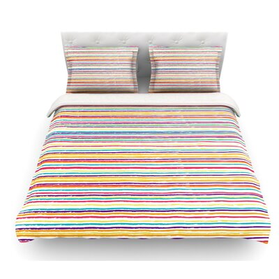 Summer Stripes by Nika Martinez Abstract Featherweight Duvet Cover Size: Queen