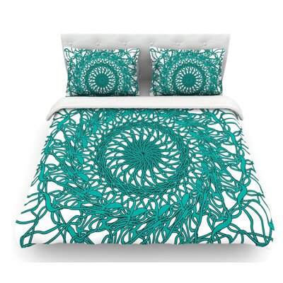 Mandala Spin Jade by Patternmuse Featherweight Duvet Cover Size: King