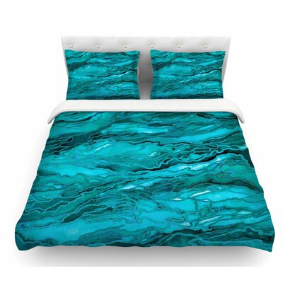 Marble Idea! by Ebi Emporium Featherweight Duvet Cover Size: Queen, Color: Aqua/Blue/Light/Teal