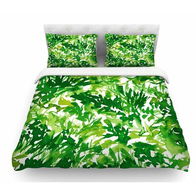 In the Meadow by Ebi Emporium Featherweight Duvet Cover Color: Green/White, Size: King