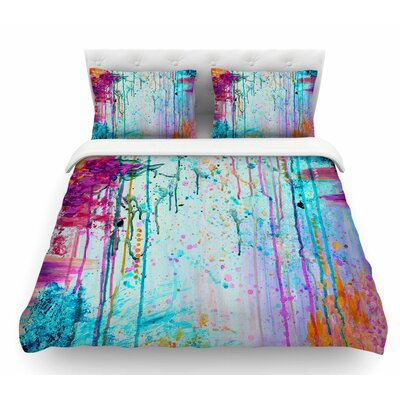 Happy Tears by Ebi Emporium Featherweight Duvet Cover Color: Teal/Orange, Size: King