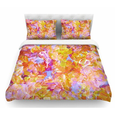 Bloom On! by Ebi Emporium Featherweight Duvet Cover Color: Pink/Orange/Yellow, Size: Queen