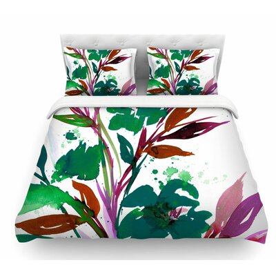 Pocket Full of Posies by Ebi Emporium Featherweight Duvet Cover Color: Teal/Green/Pink, Size: Queen