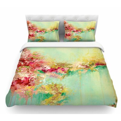 When Land Met Sky by Ebi Emporium Featherweight Duvet Cover Color: Red/Green, Size: King