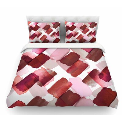 Strokes of Genius by Ebi Emporium Featherweight Duvet Cover Color: Red/Pink, Size: Queen