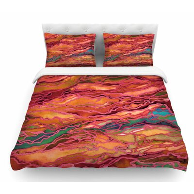 Marble Idea! by Ebi Emporium Featherweight Duvet Cover Size: King, Color: Orange/Red