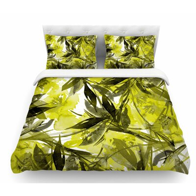 Floral Fiesta by Ebi Emporium Featherweight Duvet Cover Color: Yellow/Gray, Size: Queen