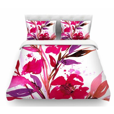 Pocket Full of Posies by Ebi Emporium Featherweight Duvet Cover Color: Nature/Pink, Size: King