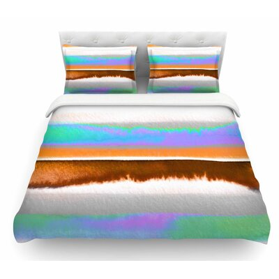 Prism Stripe by Ebi Emporium Featherweight Duvet Cover Color: Purple/Aqua, Size: Twin