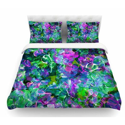 Bloom On! by Ebi Emporium Featherweight Duvet Cover Color: Green/Purple, Size: King