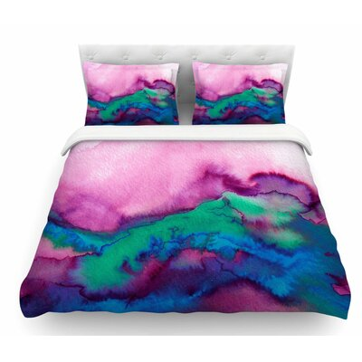 Winter Waves by Ebi Emporium Featherweight Duvet Cover Color: Pink/Watercolor, Size: Queen