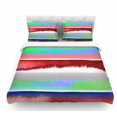 Prism Stripe by Ebi Emporium Featherweight Duvet Cover Color: Red/Blue, Size: King