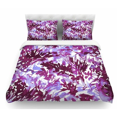 In the Meadow by Ebi Emporium Featherweight Duvet Cover Size: Queen, Color: Plum/Purple/White