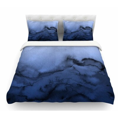 Winter Waves by Ebi Emporium Featherweight Duvet Cover Color: Blue/Black, Size: Queen