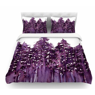 Forest Through the Trees by Ebi Emporium Featherweight Duvet Cover Color: Purple/White, Size: Twin