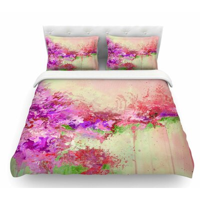 When Land Met Sky by Ebi Emporium Featherweight Duvet Cover Color: Pink/Green, Size: King