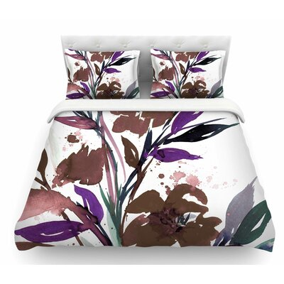 Pocket Full of Posies by Ebi Emporium Featherweight Duvet Cover Color: Brown/Beige/White, Size: Queen