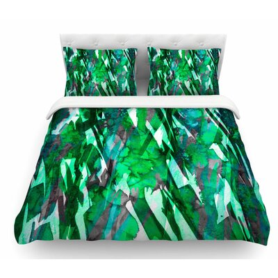 Frosty Bouquet by Ebi Emporium Featherweight Duvet Cover Color: Green, Size: Queen