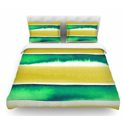 Summer Vibes by Ebi Emporium Featherweight Duvet Cover Color: Yellow/Green/White, Size: Queen