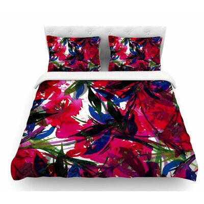 Floral Fiesta by Ebi Emporium Featherweight Duvet Cover Size: King, Color: Blue/Maroon/Red
