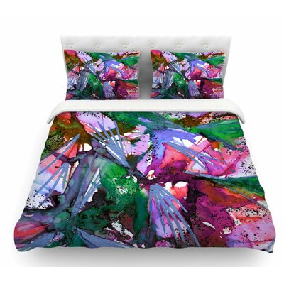 Birds of Prey by Ebi Emporium Featherweight Duvet Cover Color: Green/Pink, Size: Queen
