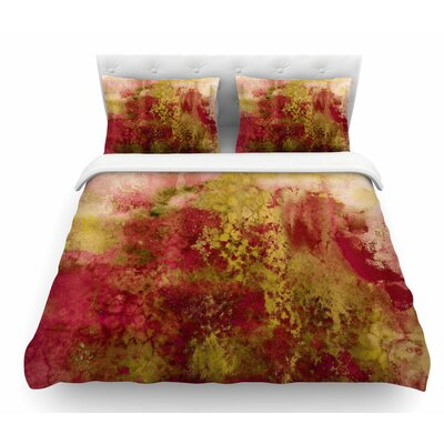 Epoch by Ebi Emporium Featherweight Duvet Cover Color: Red/Green, Size: Queen