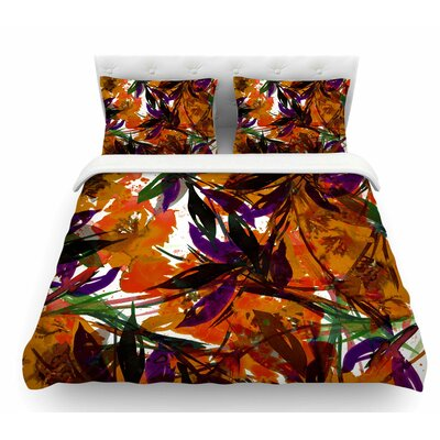 Floral Fiesta by Ebi Emporium Featherweight Duvet Cover Color: Orange, Size: Queen