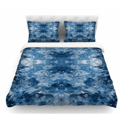 Tie Dye Helix by Ebi Emporium Featherweight Duvet Cover Color: Blue/White, Size: King
